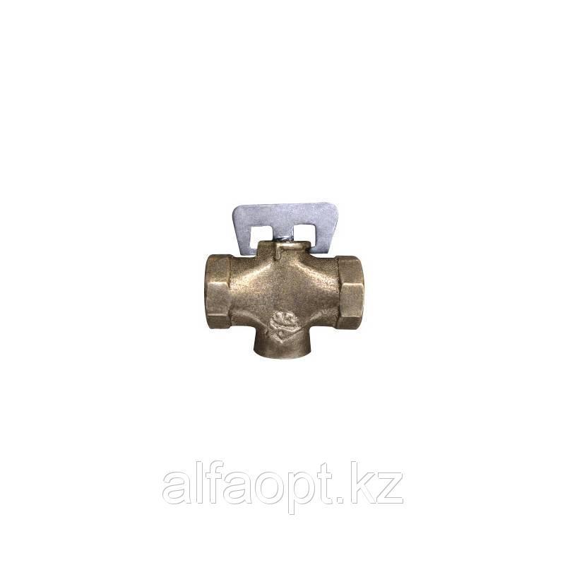 Кран латунный газовый однотипный 11Б12бк Ду 15 PN0,1 пружинный