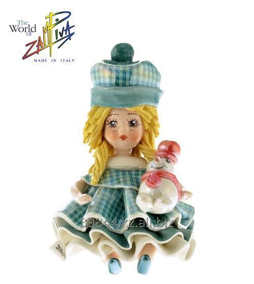 """Купить Статуэтка """"Девочка со снеговиком"""". Италия, керамика, ручная работа"""