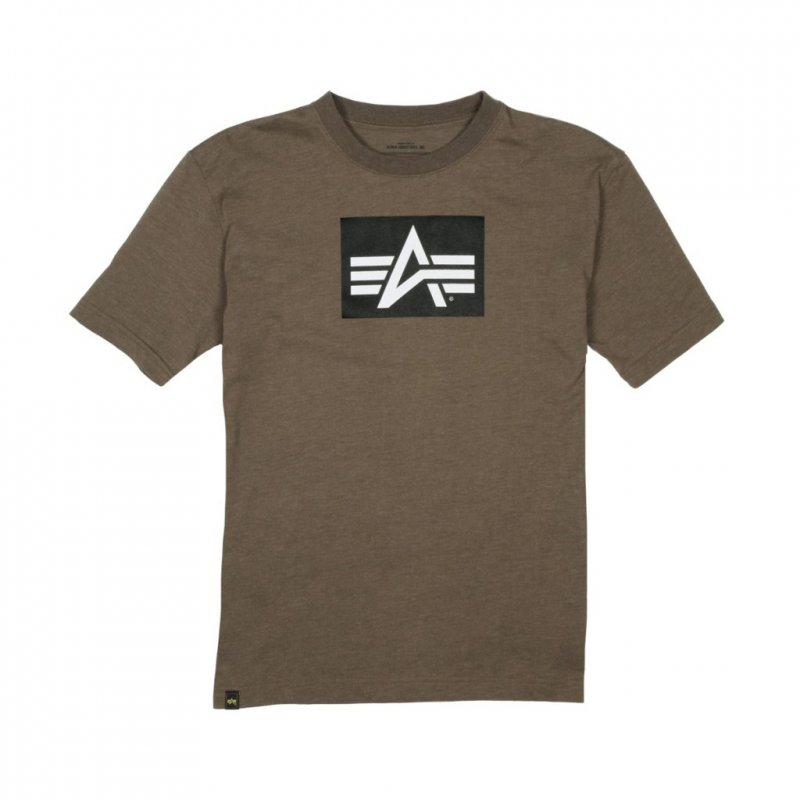 Купить Футболка Alpha Industries HEATHER OLIVE LOGO BLOCK TEE