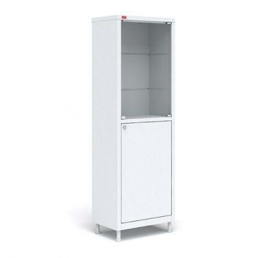 Медицинский шкаф с двумя отделениями. Металл, стекло.