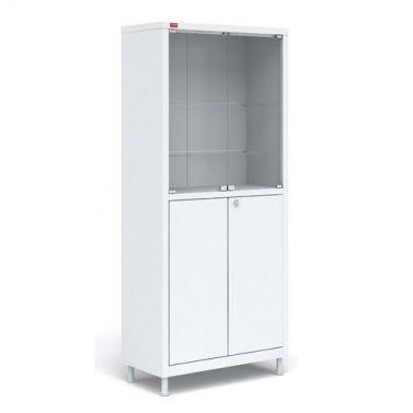 Купить Металлический медицинский шкаф с четырьмя отделениями. Металл, стекло.