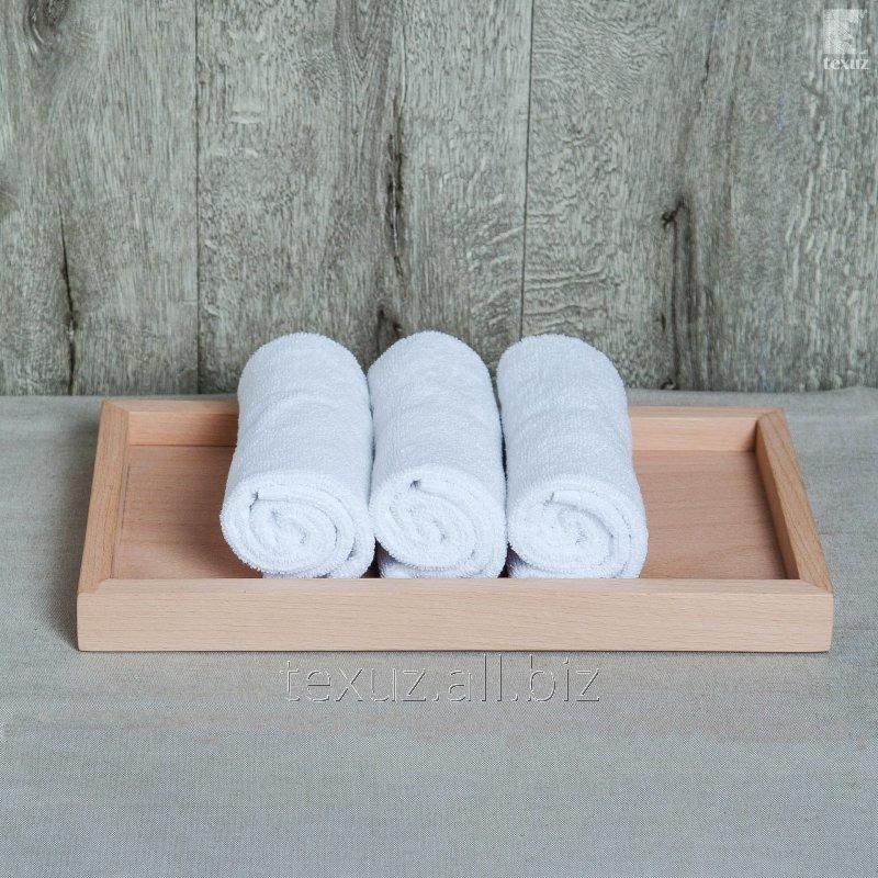 Полотенце махровое белое для рук 30х50см 100% хлопок