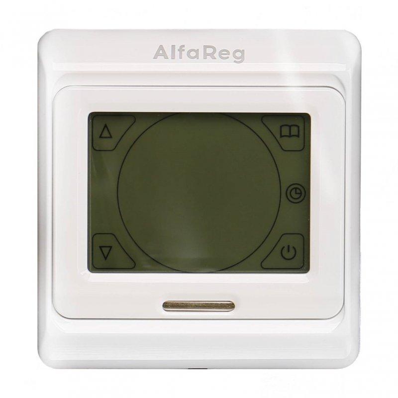 Терморегулятор AlfaReg E-91.716, программируемый сенсорный со встроенным и выносным датчиком, (16A)