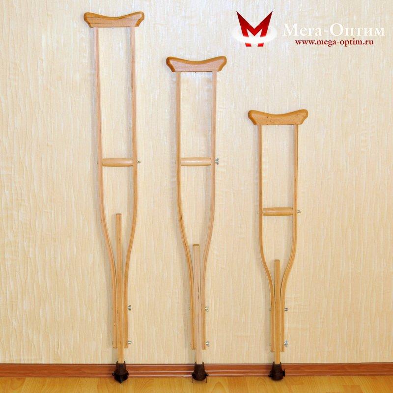 Костыли подмышечные с деревянными ручками с устройством против скольжения Антилед 02-К Взрослые (134-156)
