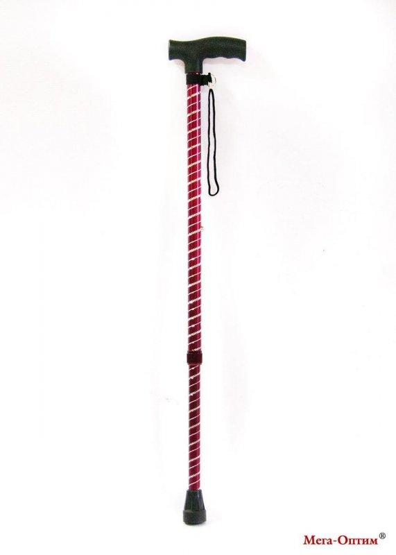 Трость блестящая с пластиковой ручкой ручкой (Спираль, бордо)