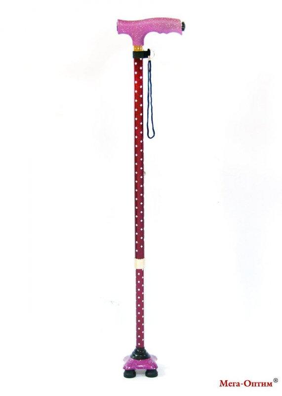 Трость с четырьмя ножками с фонариком (Звезда)