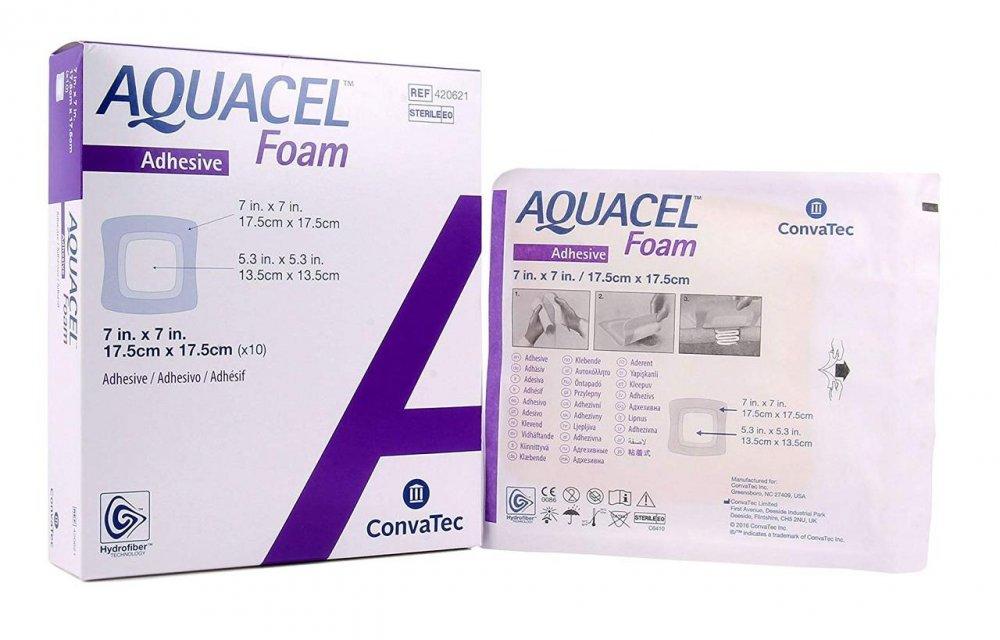 Аквасель Фоум с силиконовым адгезивом (Aquacel Foam, adh)17,5 х17,5 см