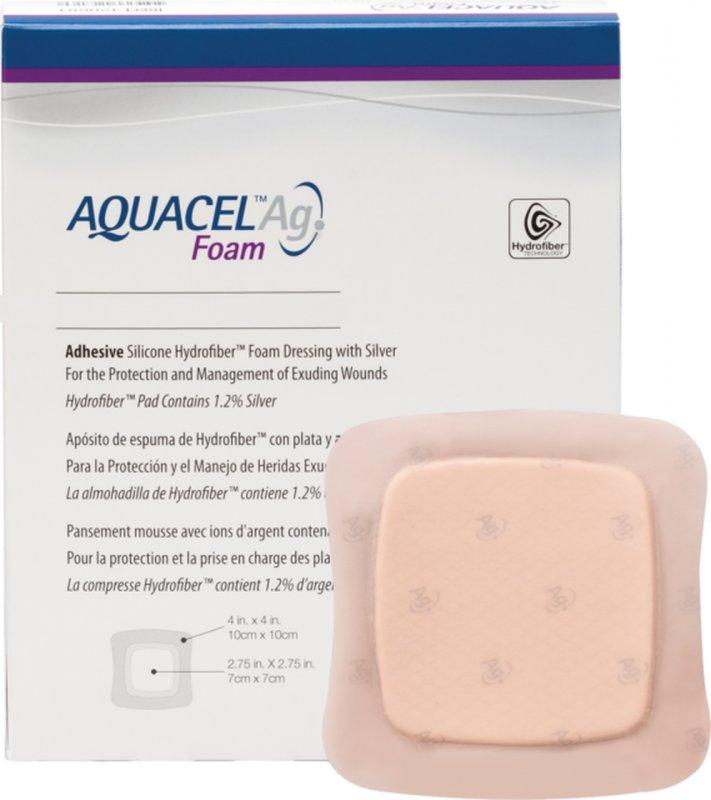 Аквасель Фоум с серебром с силиконовым адгезивом (Aquacel Foam Ag, adh) 10 х10 см