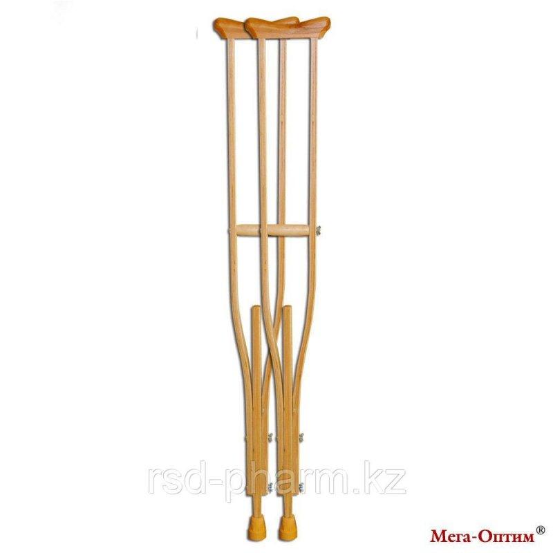 Костыли подмышечные с деревянными ручками 01-К от91до116см