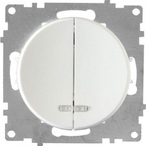Выключатель двойной с подсветкой (серия Florence) (Цвет белый)