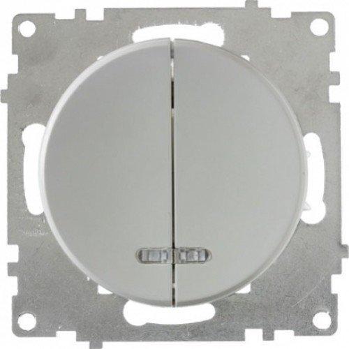 Выключатель двойной с подсветкой (серия Florence) (Цвет серый)