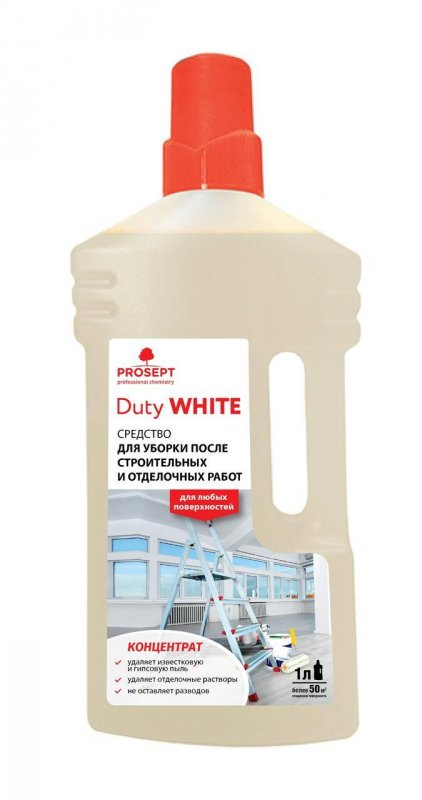 Средство для уборки после строительных и отделочных работ 124-1 DUTY WHITE концентрат 1 л.