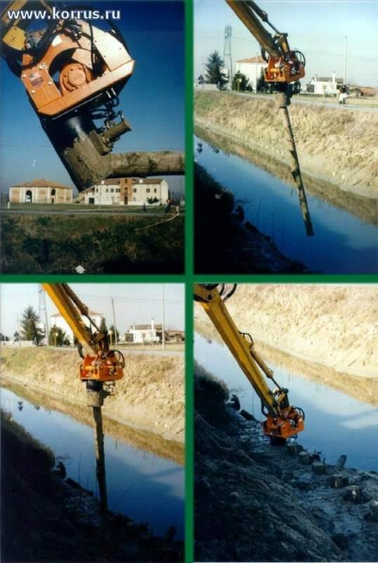 Навесное оборудование ORTECO PV 11000 для забивания деревянных столбов при укреплении грунта откосов, русел рек и т.д.