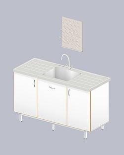 Table sink unary LAB-1500 of MOP (polypropylene, depth is 31