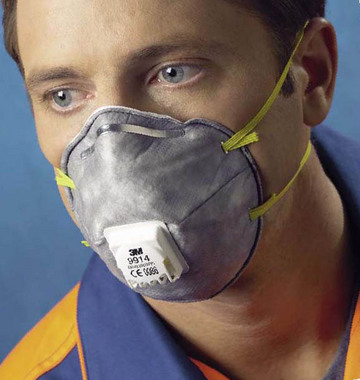 Buy Respirator 3M 9914 (Protection against aerosols, org. vapors; a half mask with the exhalation valve)