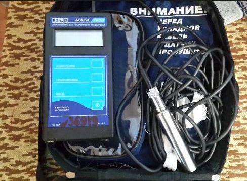 Купить Анализатор растворённого кислорода МАРК-302Э /портативный для поверхностных и сточных вод (блок преобр. с датчиком, батарея, зип, электролит,РЭ)