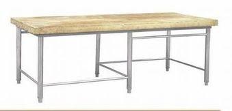 Стол разделочный с деревянной полкой