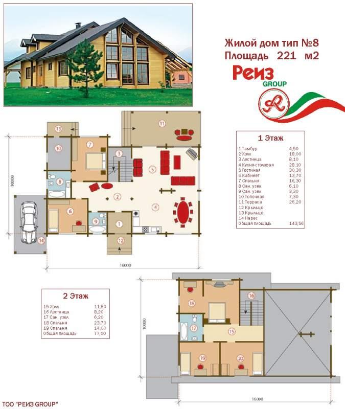 Купить Проект жилой дом тип №8 221 м²