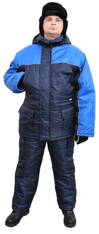 Костюм мужской Балтика зимний т.синий с васильковым, 100%полиэфир Ursus, КОС639-031