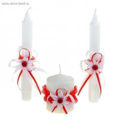 Свеча Семейный очаг Трио красный белый 785386 Арт.