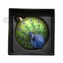 Шар стекл. плоский бирюзовый с дизайном павлина