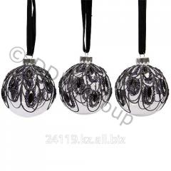 Шары стекл.с дизайном павлина черн