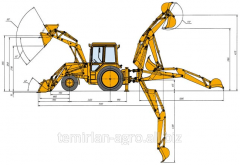 EP-F-P loader-digger with movable axis of digging