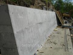 Base of retaining walls
