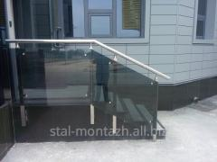 Handrail from stainless steel with glass