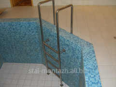 Ladder to the pool from stainless steel
