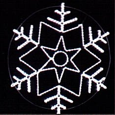 Snowflakes from a dyuralayt on a metal framework.