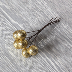 Bouquet of glitterny balls on a wire, 6 pieces,
