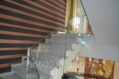 Glass handrail for ladders