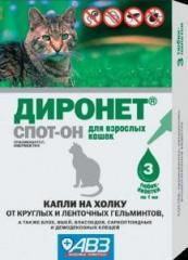 Капли Диронет Спот-Он на холку для кошек от блох,