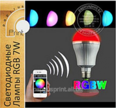 LED lamps of RGB+W 7W - the smartphone control