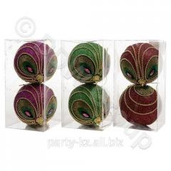 Декор Шары с дизайном павлина d10см 2шт,уп 3 цв ен
