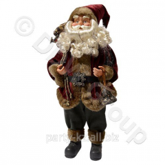 Декорация Дед Мороз в бордовом с колокольчико