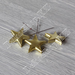 Decorative stars on a wire, 3 pieces, color gold