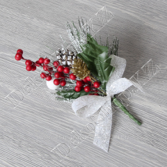 New Year's bouquet with a big bow, berries