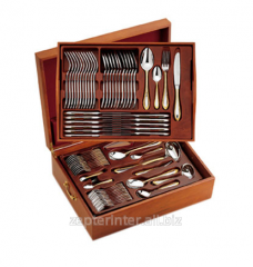 Case wooden for tableware with 2 plastic trays of