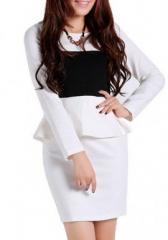 Платье белое с баской C074