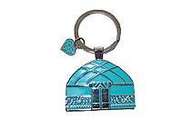 Брелок с символикой юрты из металла в подарочной