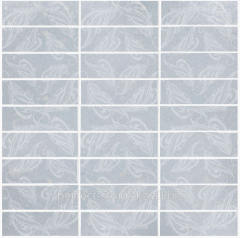 Tile of Leaf Azul Macaubas Glass