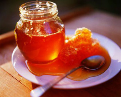 Mountain natural honey from the beekeeper