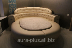Bed with a soft headboard of Aura plus the