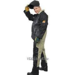 The suit of the welder combined from tarpaulin