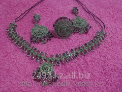 Necklace, earrings, a ring the Indian silver with