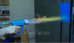 Gas-flame installation for powder pain