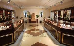 Jeweler show-windows and counters