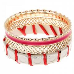 Браслет-кольца 4 кольца Сетка , цвет розово-белый